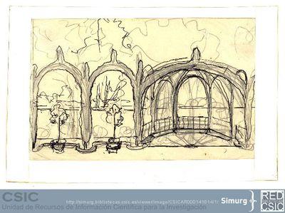 Javier de Winthuysen (1874-1960) | Material gráfico; Dibujo de jardín con arcos vegetales
