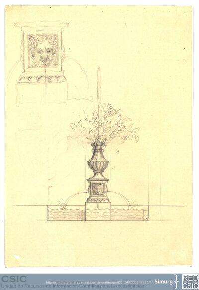 Javier de Winthuysen (1874-1960) | Material gráfico; Dibujo de una fuente y detalle del rostro que hace las veces de surtidor