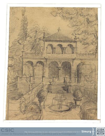 Javier de Winthuysen (1874-1960) | Material gráfico; Dibujo de vista frontal de casa con jardín y elementos decorativos de éste