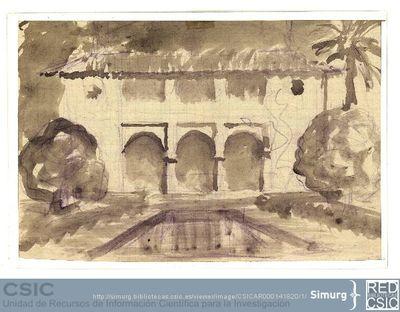 Javier de Winthuysen (1874-1960) | Material gráfico; Boceto de una alberca con tres arcos al fondo