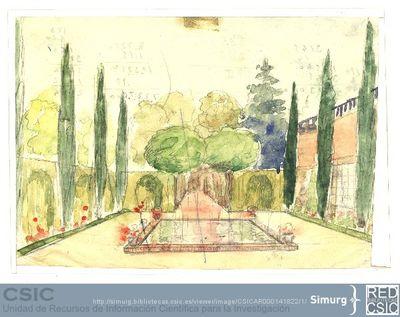 Javier de Winthuysen (1874-1960) | Material gráfico; Dibujo de jardín con vivienda a la derecha y estanque en el centro