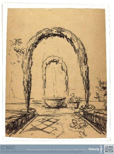 Javier de Winthuysen (1874-1960) | Material gráfico; Dibujos de una fuente con dos arcos vegetales delante y detrás