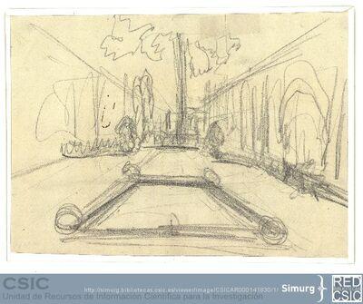 Javier de Winthuysen (1874-1960) | Material gráfico; Apunte de un jardín con alberca central