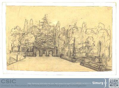 Javier de Winthuysen (1874-1960) | Material gráfico; Apunte de un jardín con gran explanada delante