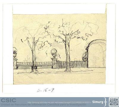 Javier de Winthuysen (1874-1960) | Material gráfico; Apunte de jardín con dos árboles en primer plano