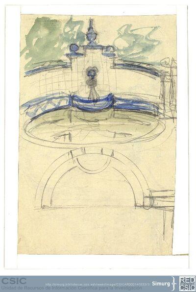 Javier de Winthuysen (1874-1960) | Material gráfico; Detalle de fuente con adornos cerámicos