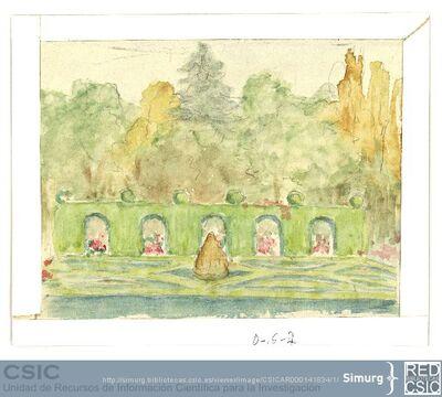 Javier de Winthuysen (1874-1960) | Material gráfico; Boceto de jardín con arcos vegetales centrales que dividen la zona arbolada de los parterres