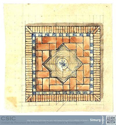 Javier de Winthuysen (1874-1960) | Material gráfico; Plano de una fuente con acabado cerámico