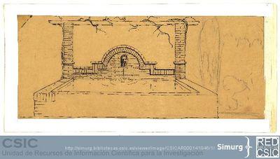 Javier de Winthuysen (1874-1960) | Material gráfico; Dibujo de fuente con surtidor con forma de máscara griega