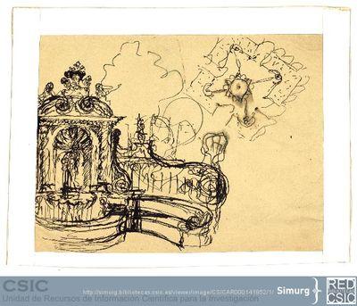 Javier de Winthuysen (1874-1960) | Material gráfico; Dibujo de una fuente con escultura central
