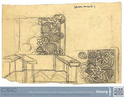 Javier de Winthuysen (1874-1960) | Material gráfico; Boceto de sillón resaltando en el dibujo la espalda de la pieza