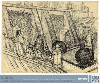 Javier de Winthuysen (1874-1960) | Material gráfico; Dibujo de un muro de contención ajardinado