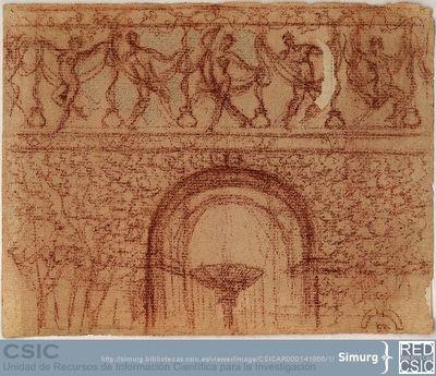 Javier de Winthuysen (1874-1960) | Material gráfico; Dibujo de fuente con friso de bailarines