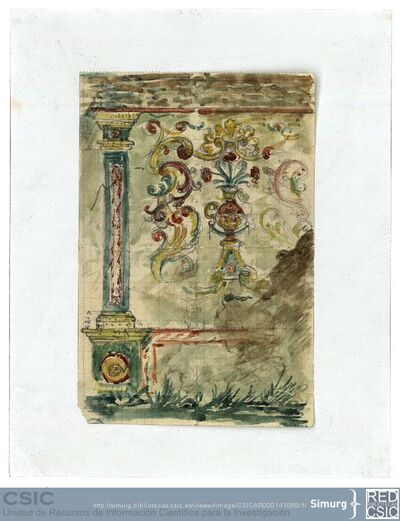 Javier de Winthuysen (1874-1960) | Material gráfico; Dibujo copiado de una tapia de azulejos en Aranjuez