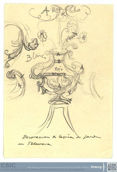 Javier de Winthuysen (1874-1960) | Material gráfico; Centro decorativo de una tapia de un jardín en Aranjuez