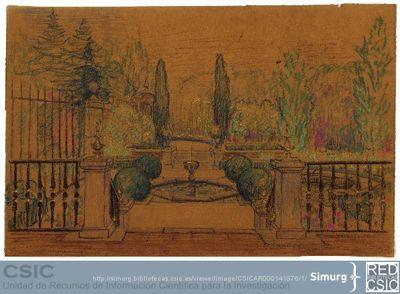 Javier de Winthuysen (1874-1960) | Material gráfico; Dibujo de jardín con numerosos detalles ornamentales
