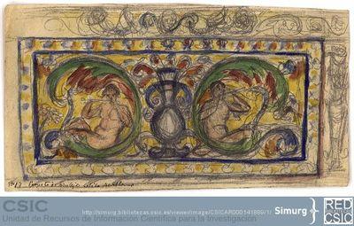 Javier de Winthuysen (1874-1960) | Material gráfico; Dibujo de azulejo de estilo sevillano