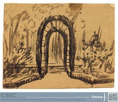 Javier de Winthuysen (1874-1960) | Material gráfico; Boceto de jardín con dos arcos vegetales en el centro