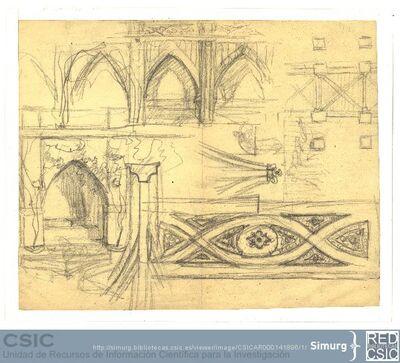 Javier de Winthuysen (1874-1960) | Material gráfico; Bocetos de construcción de estilo gótico