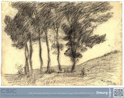 Javier de Winthuysen (1874-1960) | Material gráfico; Dibujo de un paisaje del Tibidabo