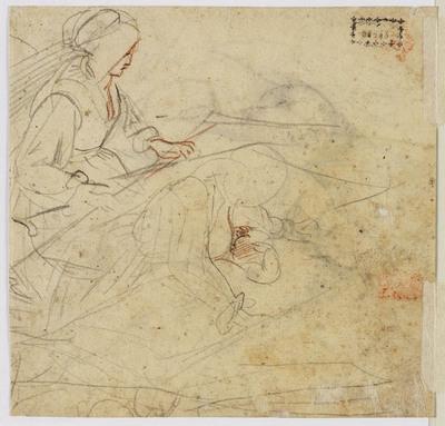 Schetsen van vrouw bij een wieg