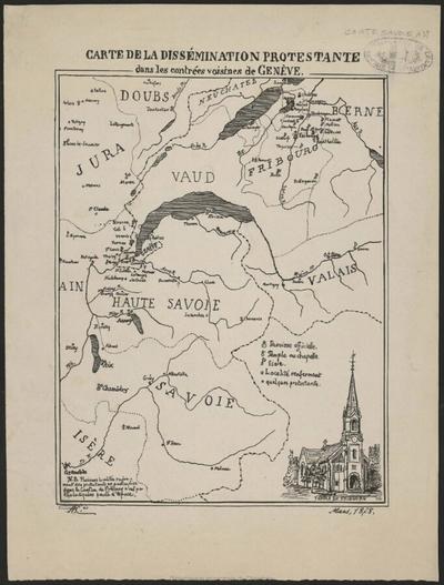 Carte de la dissémination protestante dans les contrées voisines de Genève