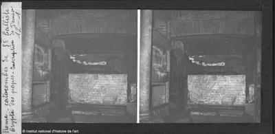 Rome. Catacombes de Saint Calliste. Crypte des papes. Inscription de Damase