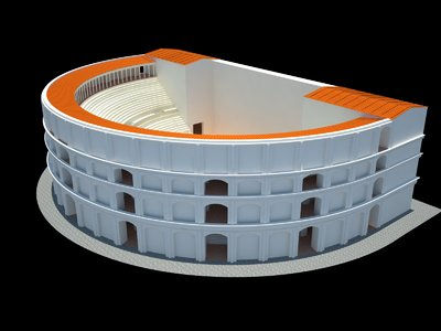 Images of 3D model of Roman Theatre at Naples