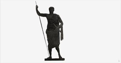 Images of 3D model of statue of heroic Augusto