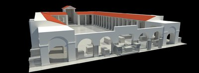 Images of 3D model of Augusteum at Herculaneum with statues and frescoes