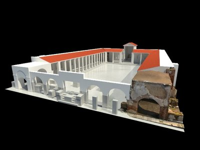 Images of 3D model of Augusteum of Herculaneum with Quadrifrontal Arch