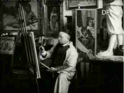 Maleren Kristian Zahrtman i sit Atelier i sin Villa Casa d'Antino