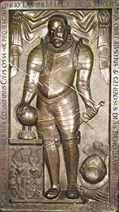 Tycho Brahe's tombstone (Cathedral of the Virgin Mary near Tyn - Panna Marie pred Týnem - Prague).