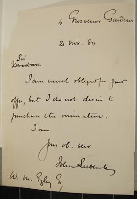 [Letter] 1884-11-02, London