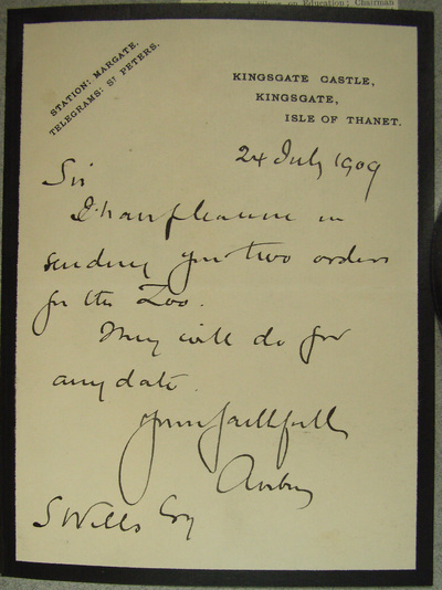 [Letter] 1909-07-24, Kingsgate, Isle of Thanet [to] S. Wells [to] S. Wells