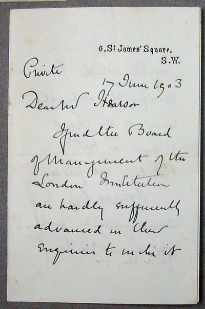 [Letter] 1903-06-03, London