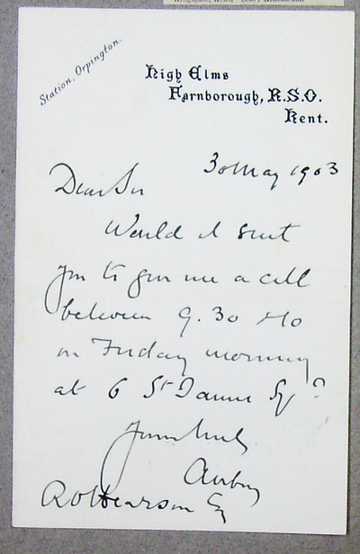 [Letter] 1903-05-03, Farnborough
