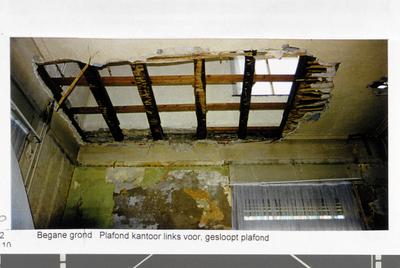 Pand Biest 110 interieur, begane grond, plafond kantoor links voor, gesloopt plafond