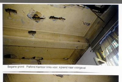 Pand Biest 110 interieur, begane grond, plafond kantoor links voor, kijkend naar voorgevel