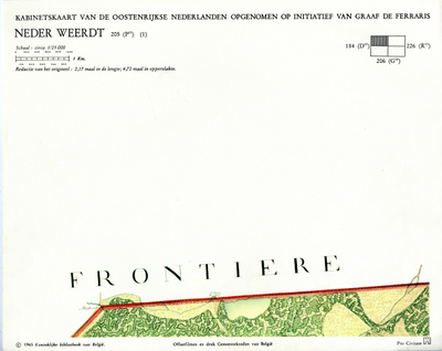Kabinetskaart van de Oostenrijkse Nederlanden opgenomen op initiatief van Graaf De Ferraris: Neder Weerdt 205 (P17) (1)