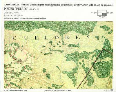 Kabinetskaart van de Oostenrijkse Nederlanden opgenomen op initiatief van Graaf De Ferraris: Neder Weerdt 205 (P17) (4)