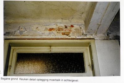 Pand Biest 110 interieur, begane grond, keuken detail oplegging moerbalk in achtergevel