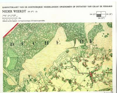 Kabinetskaart van de Oostenrijkse Nederlanden opgenomen op initiatief van Graaf De Ferraris: Neder Weerdt 205 (P17) (3)