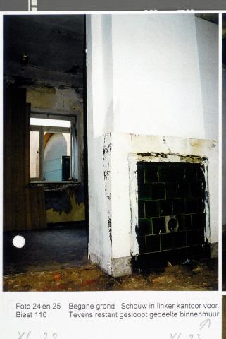 Pand Biest 110 interieur, begane grond, schouw in linker kantoor voor