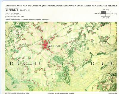 Kabinetskaart van de Oostenrijkse Nederlanden opgenomen op initiatief van Graaf De Ferraris: Weerdt 206 (G18) (1)