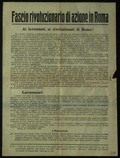 Ai lavoratori, ai rivoluzionari di Roma! / Fascio rivoluzionario di azione in Roma