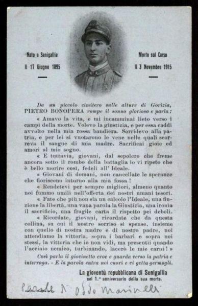 Cartolina commemorativa a ricordo di Pietro Bonopera