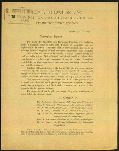 Comitato Cagliaritano per la raccolta di libri pei militari convalescenti