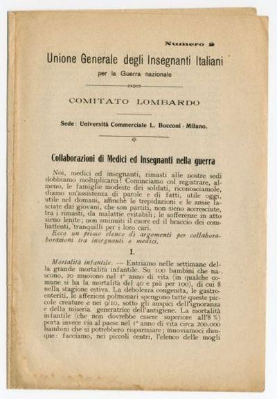 Numero 2. Collaborazione di Medici ed insegnanti nella guerra