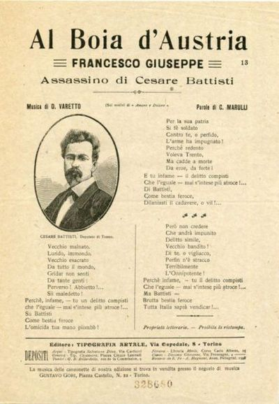 Al boia d'Austria Francesco Giuseppe assassino di Cesare Battisti :  (Sui motivi di Amore e dolore) / Musica di D. Varetto ; parole di C. Marulli